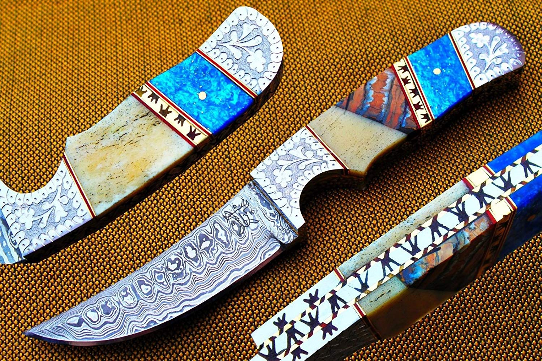 "Damascus Handmade 4.1"" blade Hunting knife w/Ocean jasper, Kerinite, Engraved Steel Bolsters, Custom File-Work ,Dyed Blue Camel Bone & Sheath Cover UDK-F-F-C-27"
