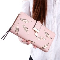 Women's Long Leaf Bifold Wallet Leather Card Holder Purse Zipper Buckle Elegant Clutch Wallet
