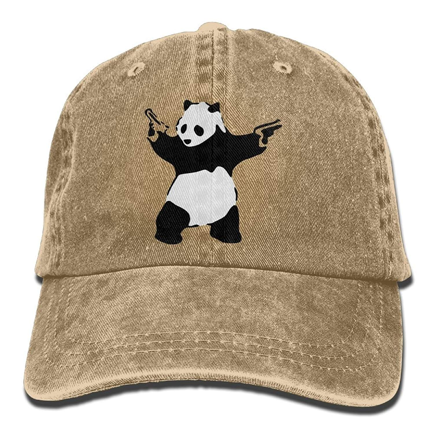 SDQQ6 KCCO - Panda Guns Banksy Adult Cowboy Hat Baseball Cap Adjustable Athletic Making Unique Hat for Men and Women