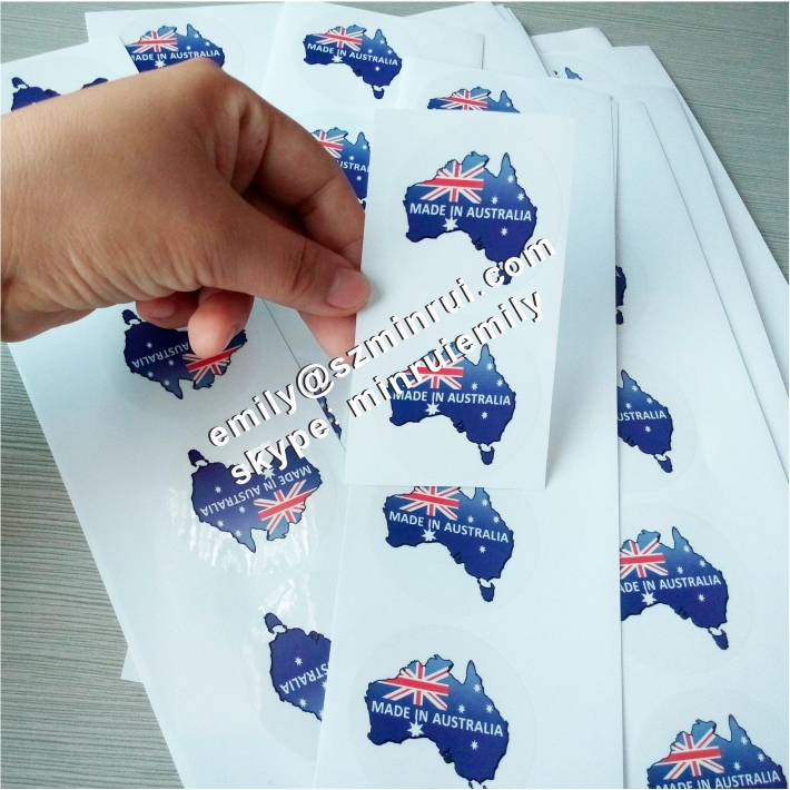 Custom transparent vinyl stickers for boxes, full colors printed transparent adhesive labels