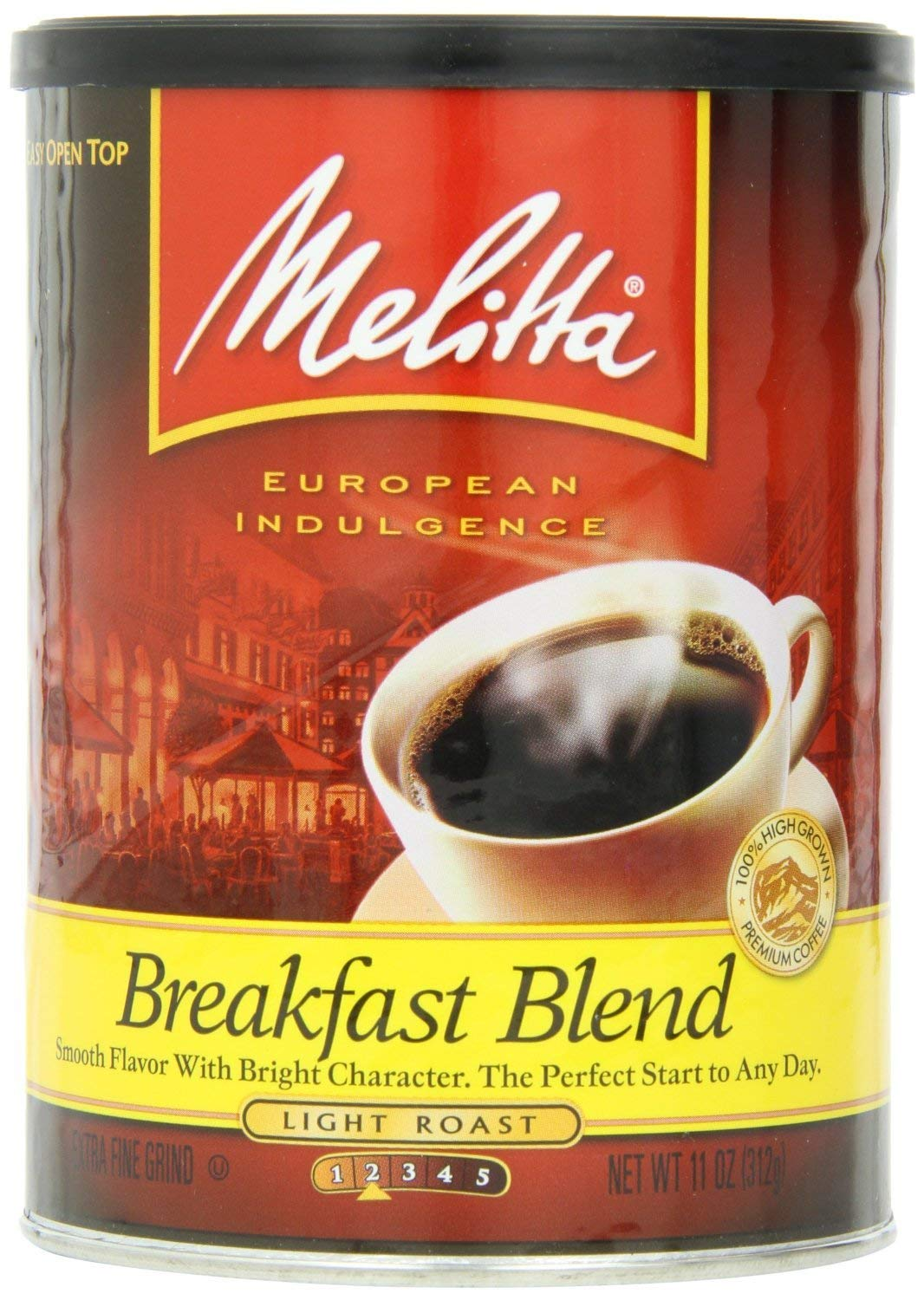 Melitta Coffee, Breakfast Blend Ground, Light Roast, 11oz Can (Pack of 2)