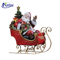 factory direct christmas resin santa claus with sled and reindeer statue NT-00258RI