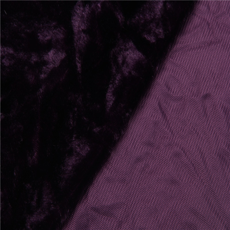 Printed purple color soft touch super soft short plush for winter warmth