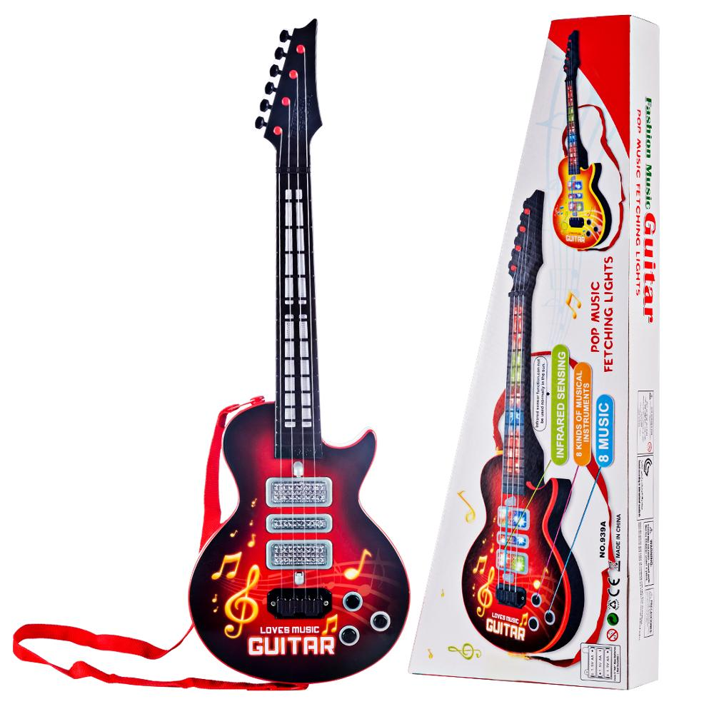 4 Strings Music Electric Guitar Kids Musical Instruments Educational Toy - Red