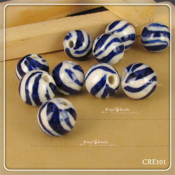 Vintage Hand Painted Blue and White Porcelain Beads