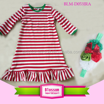 Wholesales Fashion child christmas baby dress model red striped baby Christmas dress baby dress pictures