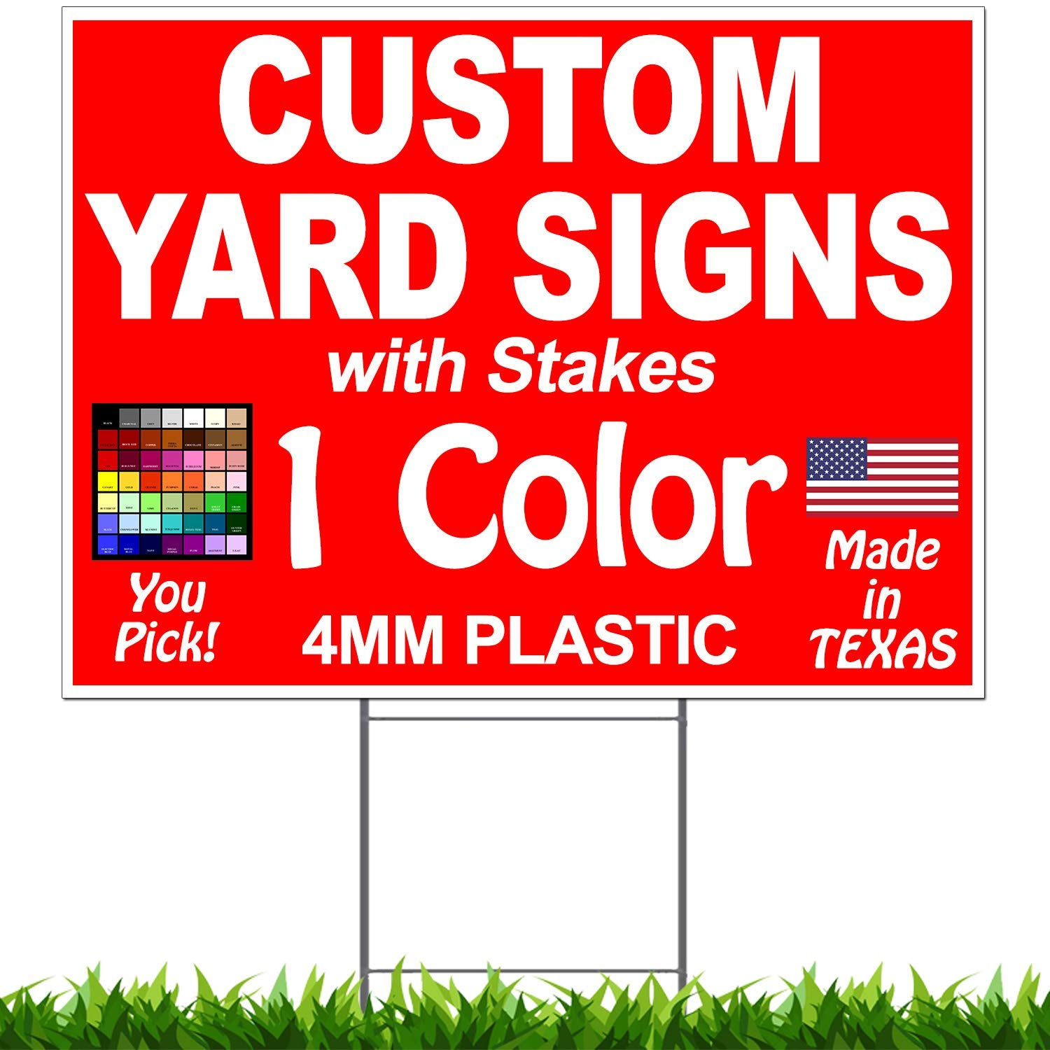 "Vibe Ink Pack of 100-18""x24"" Custom Yard Signs - Plastic Lawn Signs - Print Double Sided - Front & Back + 30"" Heavy Duty Stakes Included"