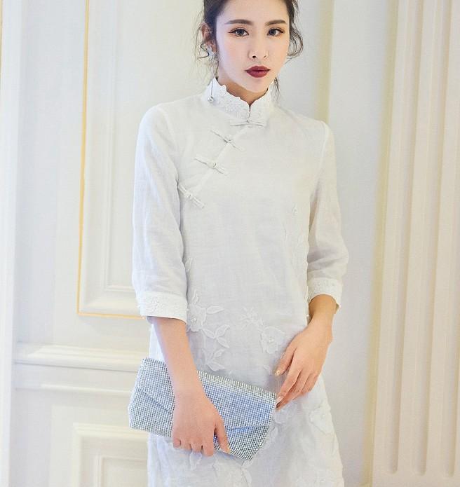 225458f4e Todos los tipos vestidos de las señoras fotos de casual elegante vestidos  de lino blanco