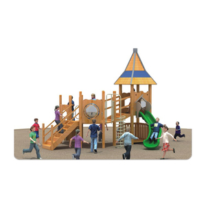 Latest items wooden playground outdoor kids slides small sizes wood amusement parkHFA182-01