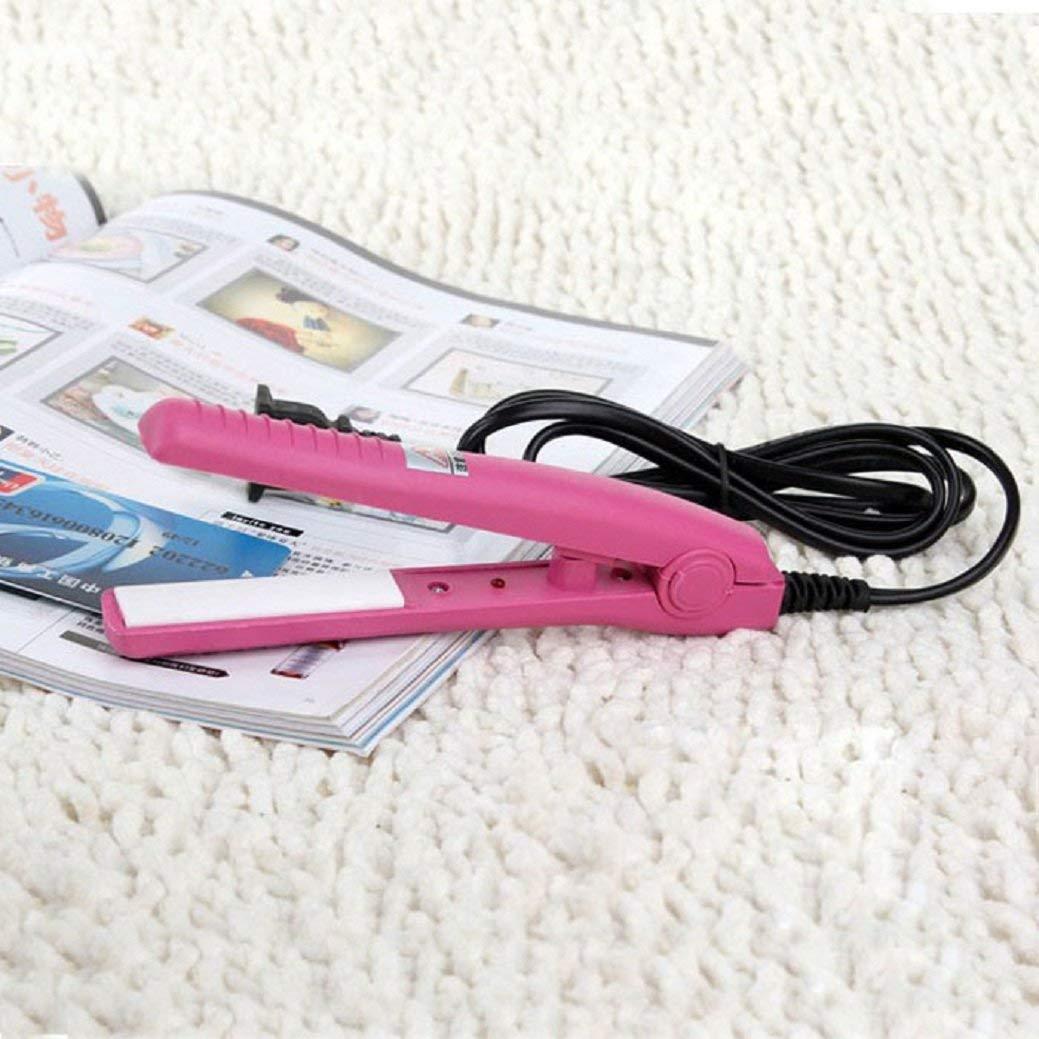 Putars Mini Portable Multifunction Fashion Travel Woman Ceramic Portable Ceramic Hair Straightener Tool Pink
