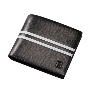 Baellerry 2018 New Style PU Leather Short Section Double Stripe cheaper Wallet For Men,Male Thin Coin Purse