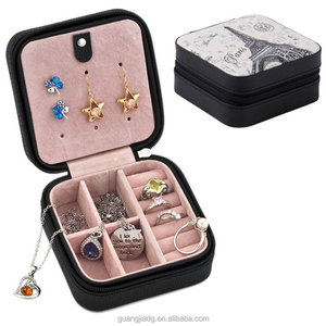 portable cute small size travel style or kids wooden zipper jewelry storage box for earring ring storage and hanging necklace
