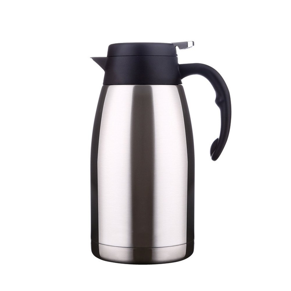 European simple vacuum flask Fashion thermos pot Large capacity Household vacuum flask Stainless steel hot water bottle 2L warm kettle-A 25.6x13.4cm(10x5inch)