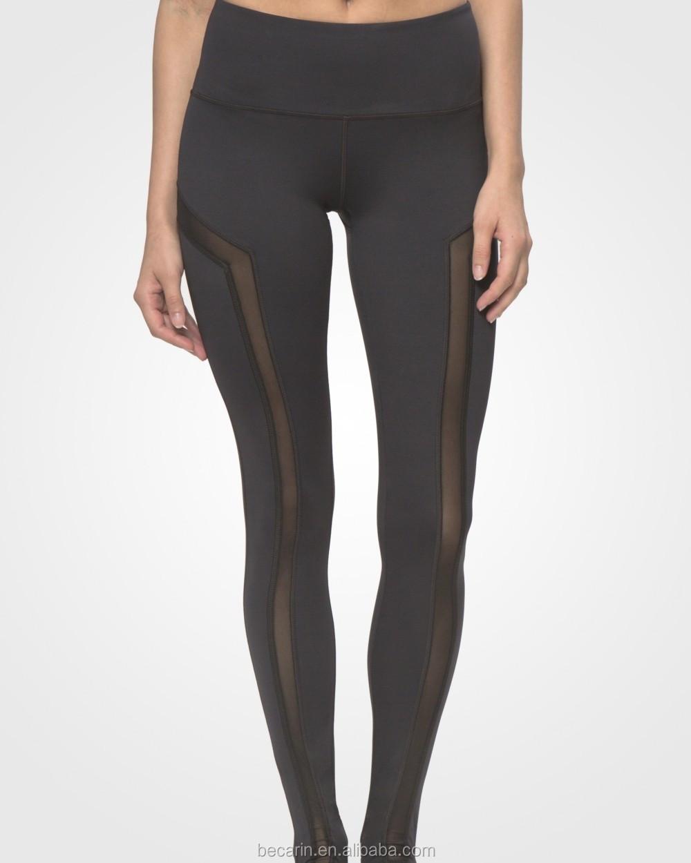 df8a3c066bd9ba custom sexy black mesh over heel extra long yoga pants girls leggings  fitness wear