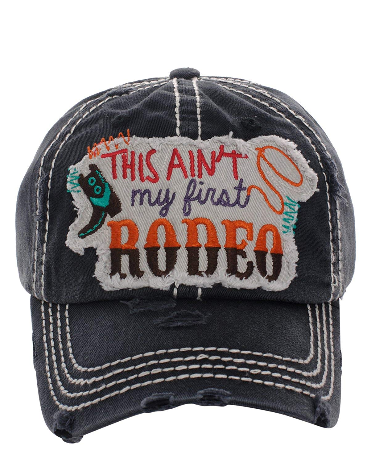 c9c4714ff67 Get Quotations · KB JP Adjustable This Aint My First Rodeo Boot Rope  Vintage Distressed Hat Cap