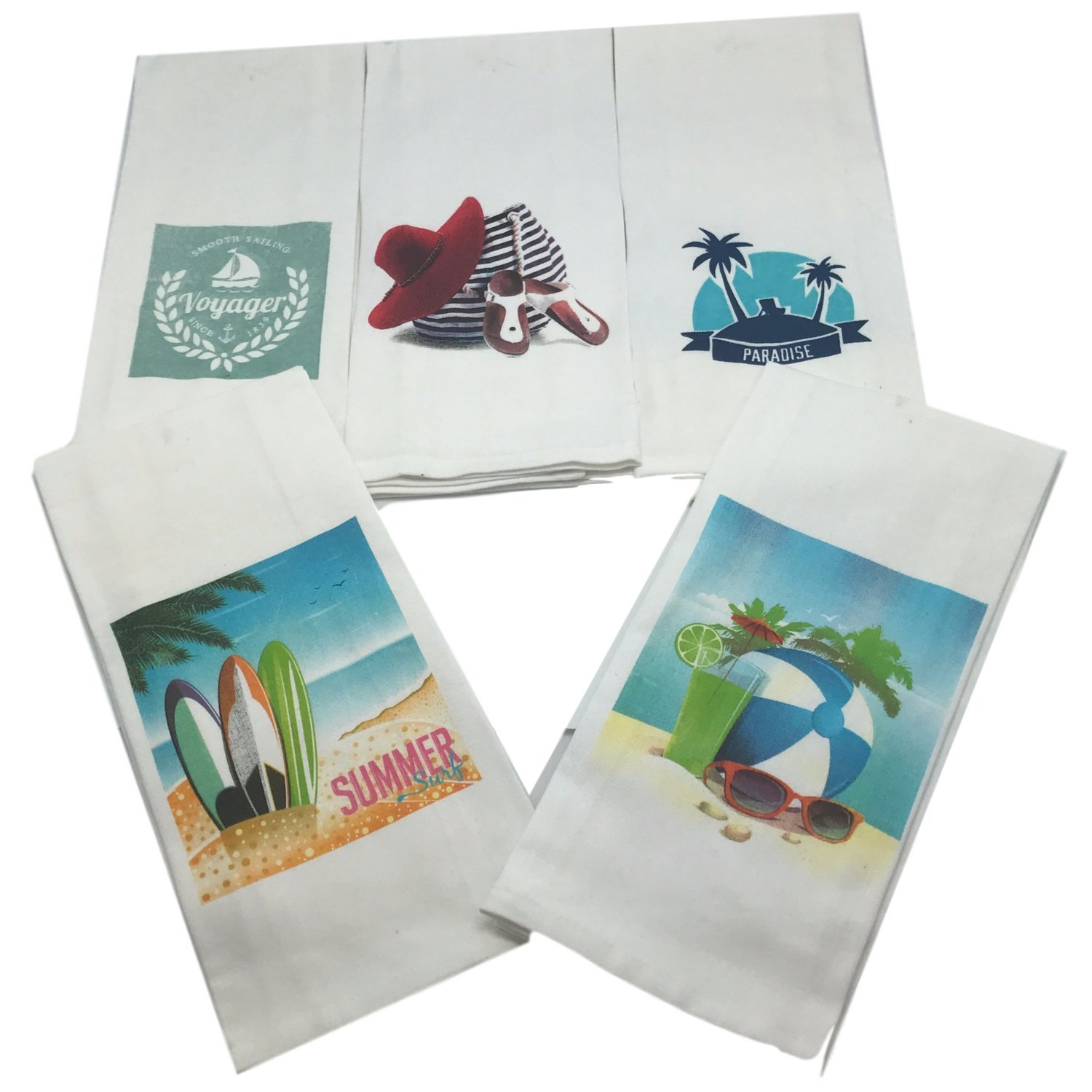 Get Quotations Beach Theme Bathroom Towel Set Of 5 Nautical Hand Towels Themed