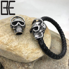 BE Skull Bangle Jewelry Fashion Wholesale Handmade Cheap Leather Bracelet For Men