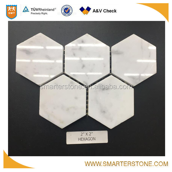2x2 inches hexagon mosaic white bianco carrara marble tile