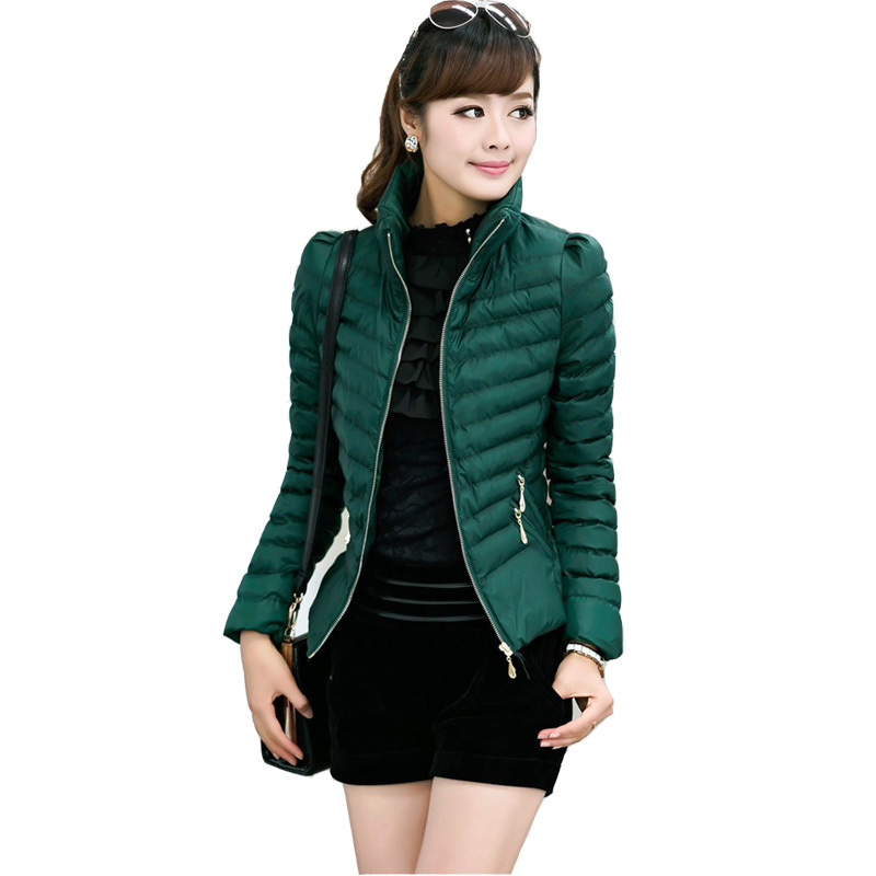 2015 New Winter Jacket Women Slim Fashion Coat Short Jackets Casaco Feminino Stand Colloar Zipper Decoration Candy Colors