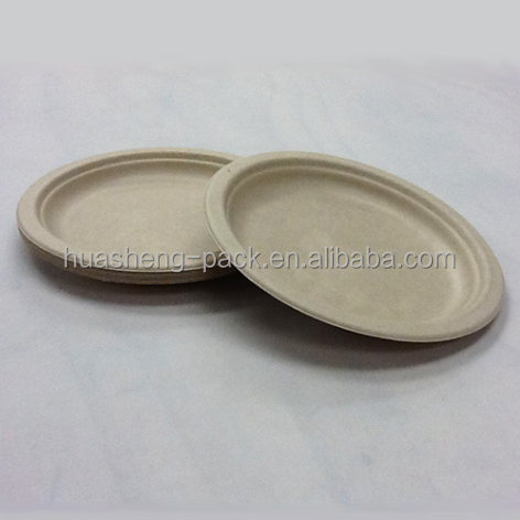 8.86 inch disposable biodegradable bamboo fibers paper round plate