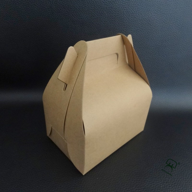 Fancy design kraft paper cake packing box with handle