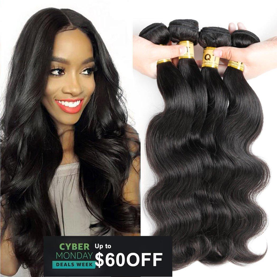 "10A Grade Unprocessed Brazilian Body Wave 4 Bundles 100% Virgin Remy Brazilian Body Wave Hair Queen Hair Company Unprocessed Wave Hair(Natural Color,16"" 18"" 20"" 20"")"