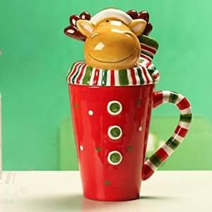 Aanll Christmas Deer Shape Mug with Lid for Gift, Painting Ceramic, Random Deer Scarf Color