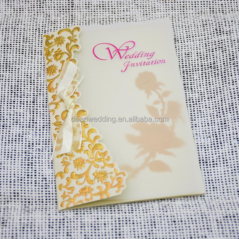 Two Fold Royal Wedding Invitation Card With Glassine Paper Cover – Royal Wedding Invitation Cards