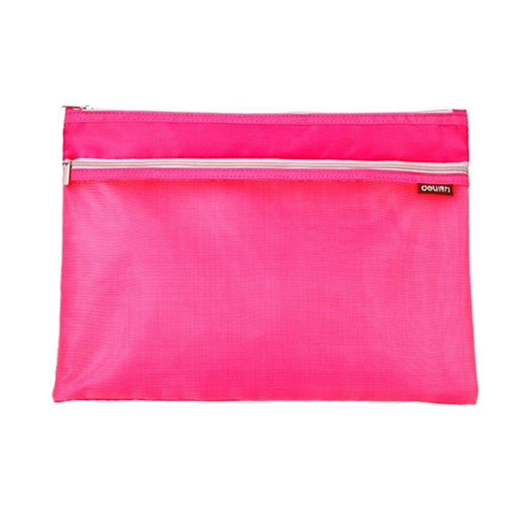 Set of 2 Double-deck Document File Stationery Zipper Bag Holder Pocket, Pink