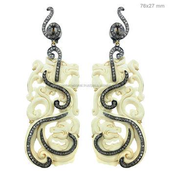 Pave Diamond Bone Carving Jewelry Gemstone Animal Carved Earrings Buy Carved Gemstone Jewelry Earrings Carved White Bone Earrings Costume Jewelry Animals Product On Alibaba Com