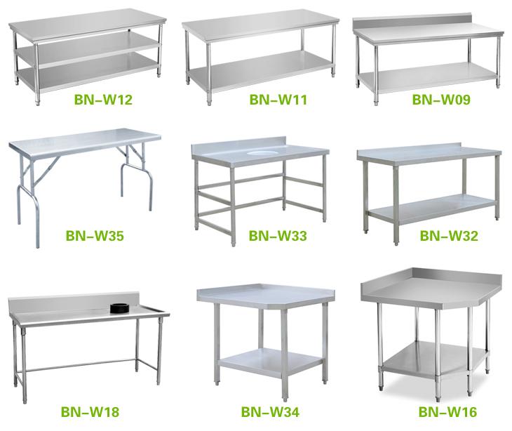 Mesa de trabajo de acero inoxidable comercial para la - Fabricantes de mesas de cocina ...