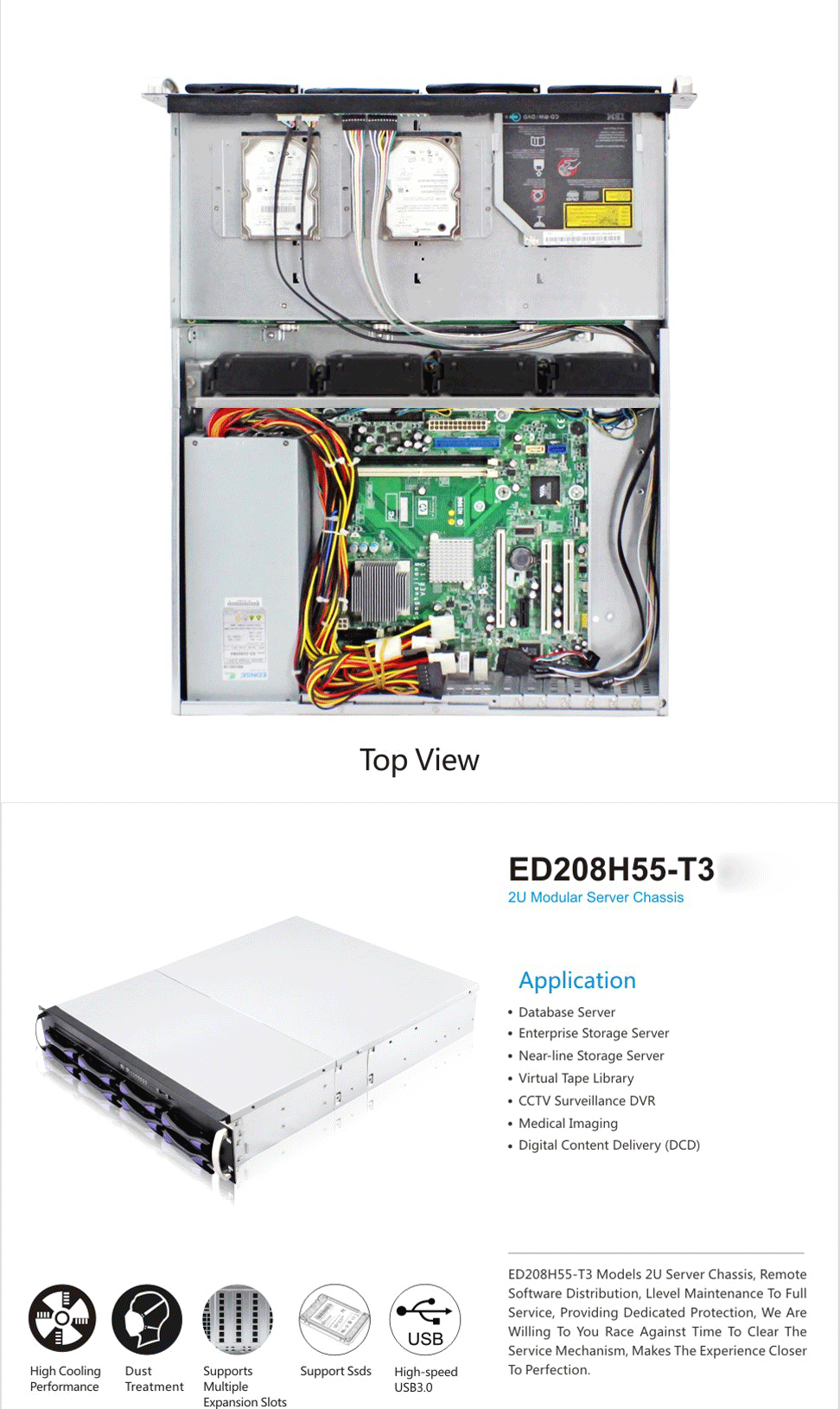 ED208H55 2u server case with good cooling condition 8 hot swap bays made in china