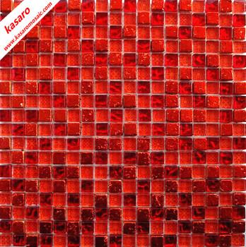 Rotes Glas Mix Stein MosaikfliesenRot Mosaik Wandfliesen X - Bodenfliesen 15x15 rot