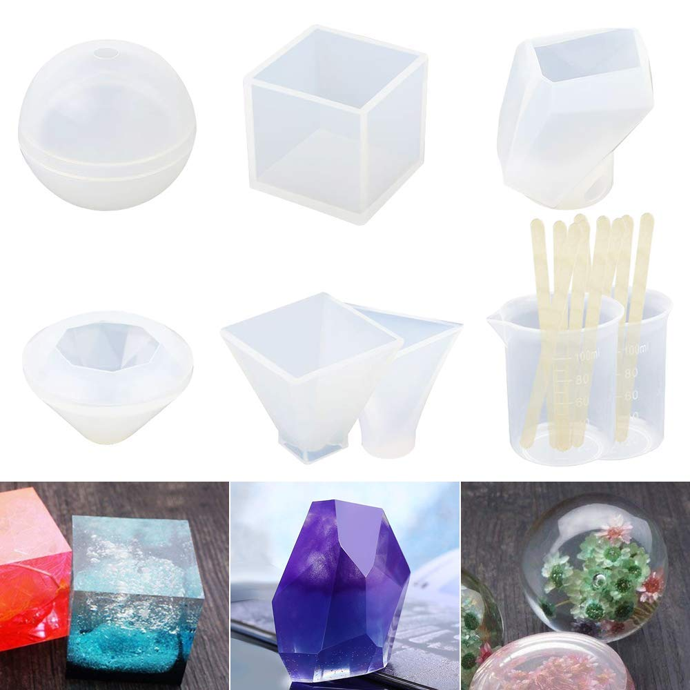 Resin Casting Molds, 6 Pack Silicone Epoxy Resin Craft Molds Includes Sphere/Cube/Diamond/Pyramid/Triangular Pyramid/Stone Shapes for Jewelry Making, with Mixing Cups and Sticks