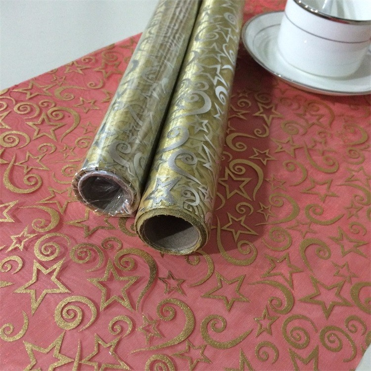 christmas decoration organza fabric roll with beautiful design