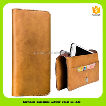 16872 Original Leather Double Mobile Phone Case Pockets Strong Soft Leather Case For Universal Phone