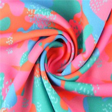 Twill fluorescent camouflage printed 100% polyester satin silk fabric for garment