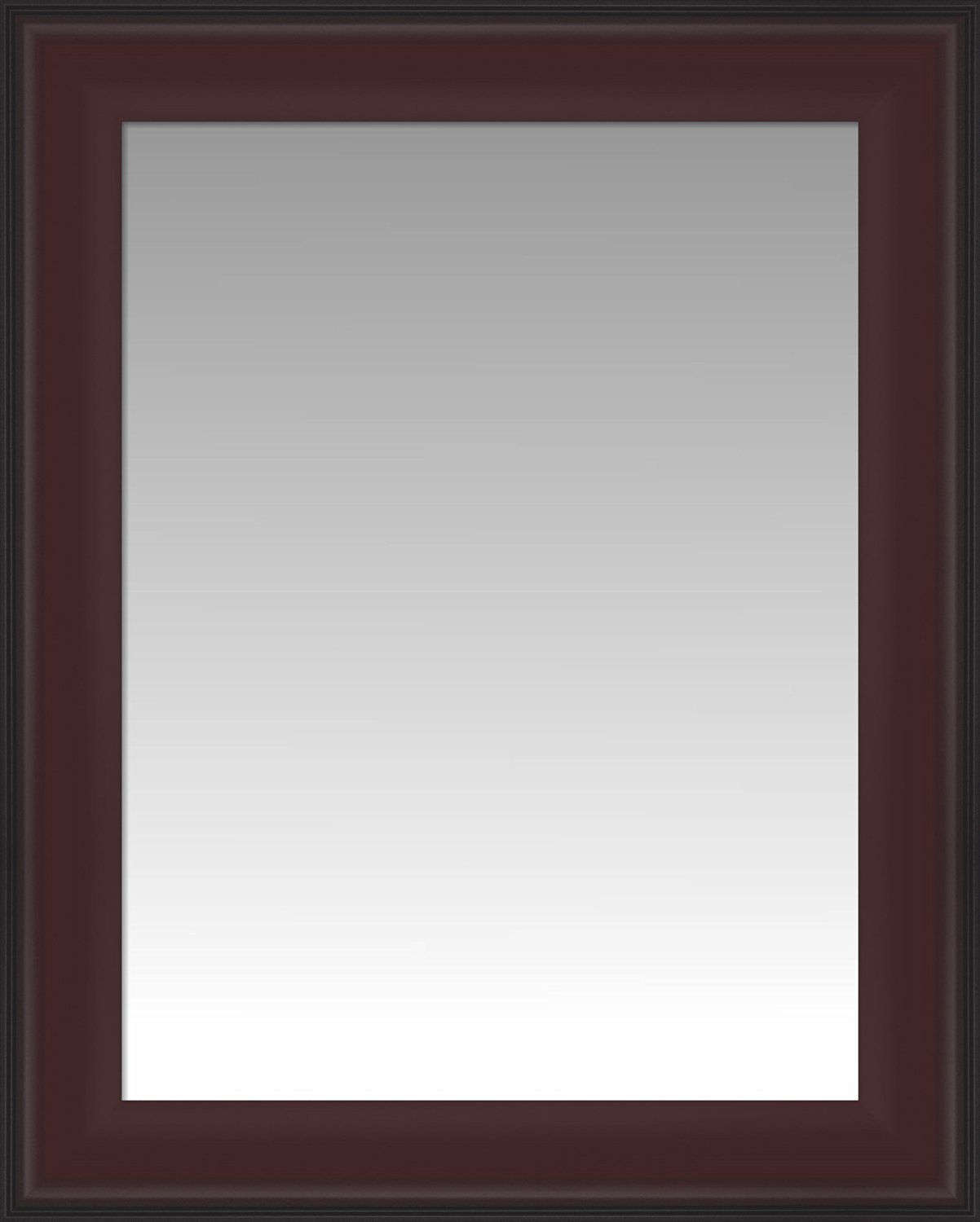 Formal Dark Cherry with Black Outer Edge Wall Mirror, Size 19.5 X 23.5