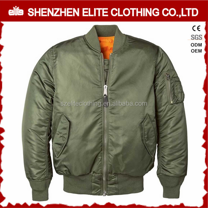 wholesale cheap men custom quilted army green nylon ma-1 flight jacket
