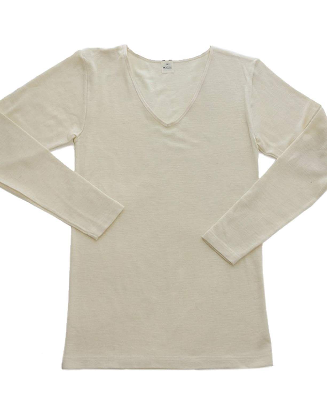 Hocosa Women's Organic Wool-Silk Long-Underwear Shirt, Long Sleeve, V-neck