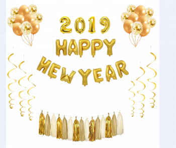 2019 Happy New Year Gold Silver Rose Gold Foil Balloon Kit