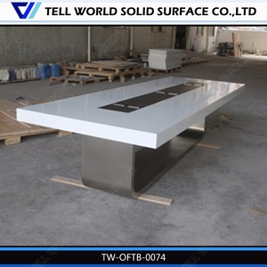Elegant acrylic solid surface conference table top with high quality stainless steel base design