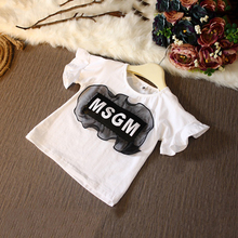 Lovely Lace Decor Printing Letters White Children Top Fashion Girl T Shirts 333165