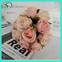 Champange silk artificial flowers rose for wedding bouquet