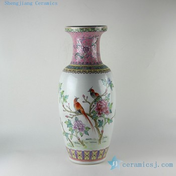Rzbu07 236 Inch Chinese Painted Flower Bird Design Porcelain