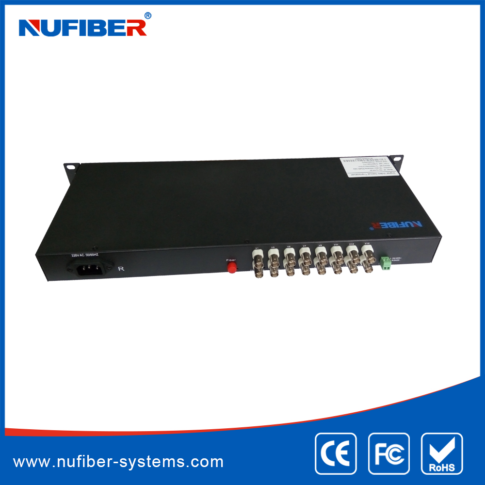 16 channels video analog to fiber optic converter