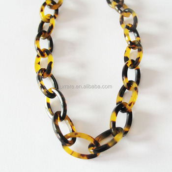 European Country Popular Elegant Tortoise Shell Leopard Color Oval Link Chain Necklace For Girls