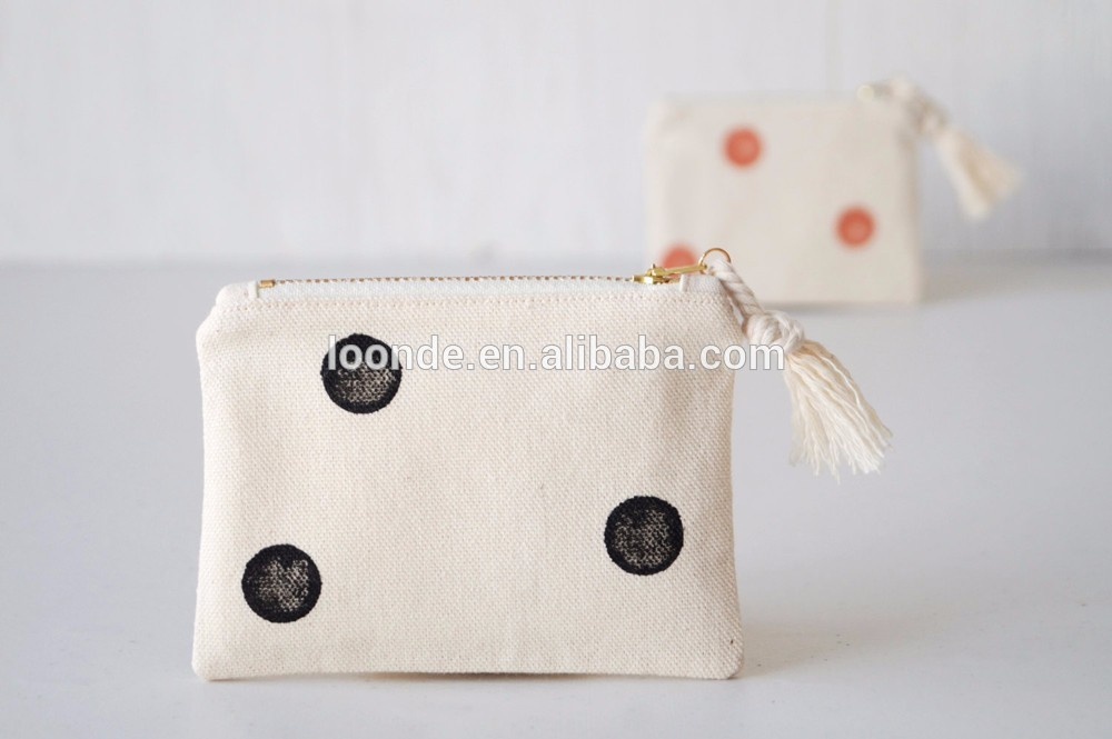 Small cotton canvas dot zipper coin gift bag with cotton drawstring