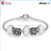 BAMOER 925 Silver Charm Bracelet Pulseira with Murano Glass Beads Snake Chain Bracelet for Women Jewelry P1374