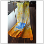 Fashion lady's 90*90cm printing machine hemming Oil painting 100% silk scarves